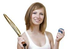 Kaukasische Vrouw met Racket Royalty-vrije Stock Fotografie