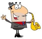 Kaukasischer Karikatur-Saxophonistmann Stockfoto