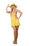 Kaukasisches angemessenes Modell im gelben Sommerkleid lokalisiert auf Weiß Stockbilder