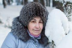 Kaukasisches Frauengesicht im Pelzhut nahe schneebedeckter Kiefernniederlassung Lizenzfreie Stockfotos