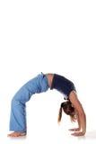 Kaukasisches Mädchen, welches die Yogahaltungen getrennt auf Weiß tut Lizenzfreie Stockfotos
