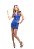Kaukasisches nettes nettes erwachsenen attraktiven des Hintergrundes schönen der Schönheit Brunette schwarzer Körper Lizenzfreie Stockfotos
