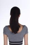 Kaukaska kobieta przed uzupełniał włosy żadny retusz, świeża twarz w zdjęcie stock