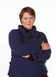Kaukaska kobieta w błękicie i czerwieni Obrazy Stock