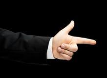 Kaukaska męska ręka w garniturze odizolowywającym Fotografia Stock