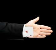 Kaukaska męska ręka w garniturze odizolowywającym Zdjęcia Royalty Free