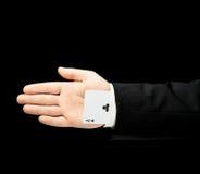 Kaukaska męska ręka w garniturze odizolowywającym Obrazy Royalty Free