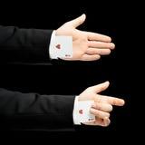 Kaukaska męska ręka w garniturze odizolowywającym Zdjęcie Royalty Free
