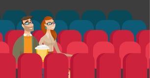 Kaukaska para ogląda 3D film w theatre Zdjęcia Royalty Free