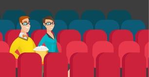 Kaukaska para ogląda 3D film w theatre Zdjęcie Stock