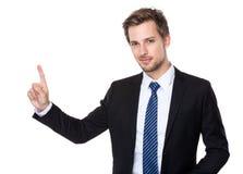 Kaukaski biznesowy mężczyzna z palcem up Obrazy Royalty Free