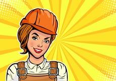 Kaukaski kobieta budowniczy w mundurze i hełmie Wystrzał sztuki wektoru ilustracja Zdjęcia Stock