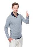 Kaukaski mężczyzna z kciukiem up Obraz Royalty Free