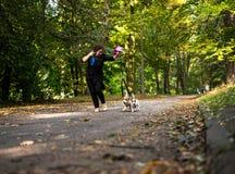 Kaukaskie kobiety biega wokoło jesień parka z psami obrazy stock