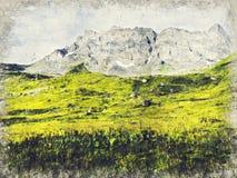 Kaukasus berg nära Roshka Chaukhi massiv och Abudelauri sjöar Khevsureti Georgia Digital Art Impasto Oil Painting royaltyfria bilder