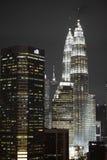 Kaula Lumpur vid natt Fotografering för Bildbyråer