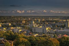 Kaunas aerial view from our Lord Jesus Christ`s Basilica , Lithuania. Royalty Free Stock Image