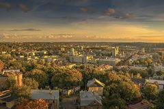 Kaunas aerial view from our Lord Jesus Christ`s Basilica , Lithuania. Stock Images