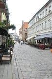 Kaunas agosto 21,2014-Street do centro histórico de Kaunas em Lituânia Foto de Stock