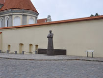 Kaunas August 21,2014-Statue of front of Priest Seminary in Kaunas in Lithuania Royalty Free Stock Photos