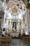 Kaunas 21,2014 augusti - Basillica St Peter e Paul, interno da Kaunas in Lituania Fotografia Stock