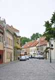 Kaunas Augusti 21,2014-Street i gammal stad i Kaunas i Litauen Arkivbild