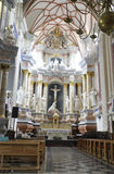 Kaunas 21,2014 Augustus - Basillica St Peter en Paul, binnenlands van Kaunas in Litouwen Stock Fotografie
