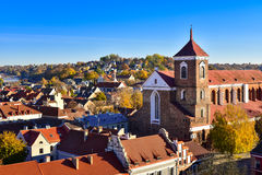Kaunas cathedral basilica aerial view. Aerial view of Kaunas old town and cathedral basilica, Lithuania Stock Images