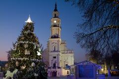 Kaunas city hall square winter time Royalty Free Stock Photos