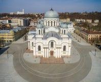 Kaunas Cityscape with Famous Church in Laisves Avenue. Soboras. St. Michael the Archangel Churc Stock Photo