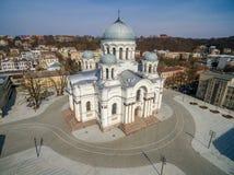 Kaunas Cityscape with Famous Church in Laisves Avenue. Soboras. St. Michael the Archangel Churc Stock Photos