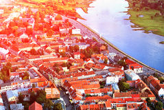 Kaunas gammalt stadlandskap Royaltyfri Bild