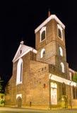 Kaunas-Kathedralen-Basilika nachts Lizenzfreie Stockfotografie