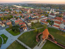 Kaunas, Lithuania: aerial top view of old town and castle Royalty Free Stock Photos