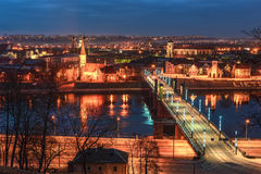 Kaunas, Lithuania: aerial view of Old Town in the sunset Stock Photo