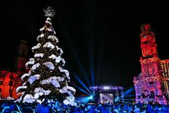Kaunas, Lithuania - December 1, 2018: Christmas Tree Lighting. royalty free stock photos