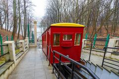 Funicular Railway in Kaunas. The oldest funicular in Lithuania. Kaunas, Lithuania- January 04, 2014: Funicular Railway in Kaunas. The oldest funicular in Royalty Free Stock Images