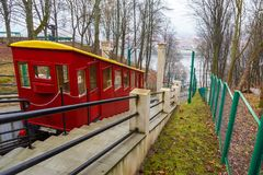 Funicular Railway in Kaunas. The oldest funicular in Lithuania. Kaunas, Lithuania- January 04, 2014: Funicular Railway in Kaunas. The oldest funicular in Stock Image