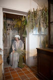 Kaunas Lithuania, Maj, - 12, 2017: Mannequin zielarki kobieta w muzeum historia medycyna i apteka Kaunas, Lithuani obraz stock