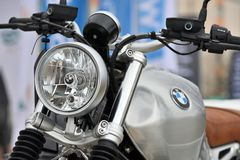 BMW motocycle details. Kaunas, Lithuania - March 23: BMW motocycle details on 23 March, 2018 in Kaunas, Lithuania, BMW Motorrad is the motorcycle brand of the Royalty Free Stock Image