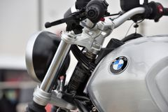 BMW motocycle details. Kaunas, Lithuania - March 23: BMW motocycle details on 23 March, 2018 in Kaunas, Lithuania, BMW Motorrad is the motorcycle brand of the Stock Photos
