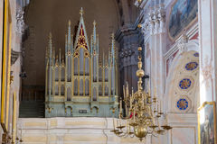 Kaunas, Lithuania - May 12, 2017: musical organ inside the Cathedral Basilica of St Peter and Paul. Kaunas. Royalty Free Stock Image