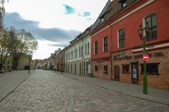 Kaunas Lithuania, 01 may 2017. Kaunas old town. Old street in spring time in early morning stock photos