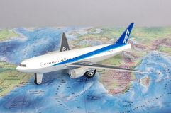 KAUNAS, LITHUANIA - NOVEMBER 05, 2017: Boeing 777 model on the w. Orld map. Travel concept Royalty Free Stock Photos