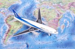 KAUNAS, LITHUANIA - NOVEMBER 05, 2017: Boeing 777 model on the w. Orld map. Travel concept Royalty Free Stock Images