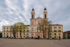 Kaunas, Lithuania, old town. Town square. Church of St. Francis Xavier since 1666 royalty free stock photography
