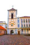 Kaunas Lithuania, Styczeń, - 02, 2017: Fasades starzy domy przy ulicą Stary miasteczko w Kaunas Zdjęcia Royalty Free