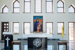 Kaunas, Litouwen - Mei 12, 2017: Binnen van Ons Lord Jesus Christs Resurrection Basilica in Kaunas stock foto
