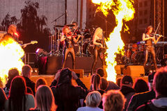 Kaunas, Lituania - 4 de junio de 2016: banda Symphomania de la sympho-roca Imagenes de archivo