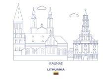 Kaunas miasta linia horyzontu, Lithuania Obrazy Royalty Free